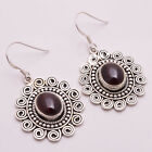 925 Solid Sterling Silver Earrings, Natural Garnet Handcrafted Jewelry CE780
