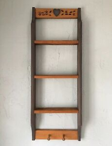 "Vintage Wooden Knick Knack Hanging Wall Shelf Display 35"" Tall Country Decor"