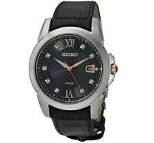 Seiko Men's Watch Le Grand Sport Diamond Black Dial Leather Strap SNE427