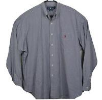 Polo Ralph Lauren Long Sleeve Oxford Shirt Plaid Mens Size XL Blue White EUC