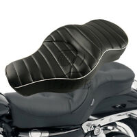 Black Driver Rear Passenger Seat Two UP For Harley Sportster XL883 XL1200N 05-13