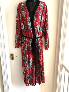 Pretty Secrets Dressing Gown Robe Full Length Red Floral Size 16 / 18