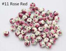 10pcs Charm Round Ceramic Flower Loose Beads DIY Jewelry Making 8mm 10mm 12mm