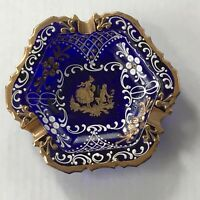 Vintage Cobalt Blue Glass Ash Tray/Dish Gold Trim Painted Man & Woman Italy
