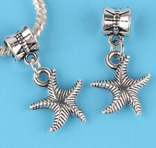 2pcs Tibetan silver starfish Charm bead fit European Bracelet Pendant Chain #B09