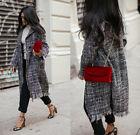 Zara Wool Blend Long Check Frayed Edge Tweed Coat Jacket S M L Black White BNWT