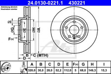 2x Bremsscheibe für Bremsanlage Vorderachse ATE 24.0130-0221.1