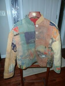 Globe trotters of Bali Jacket Quilted Patchwork Lined Mandarin Collar - Size L