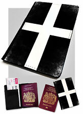 Cornwall Kernow Flag Printed Faux Leather Passport Holder Cover Case England UK