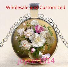 Vintage Flower Cabochon Tibetan silver Glass Chain Pendant Necklace #5112