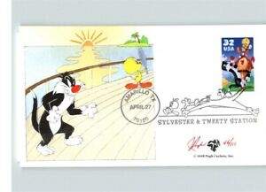 SYLVESTER and TWEETY BIRD, Hand Painted First Day of Issue by Pugh with Enclosur