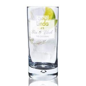 Personalised It's Gin O Clock Design Bubble Hi Ball Glass
