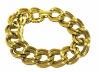 Vintage Avon Classic Chunky Textured Gold Tone Double Chain Link Bracelet