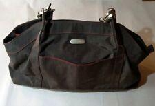 Baggalini Large Shoulder Bag Travel Purse Hobo Satchel Brown Nylon Red Lining