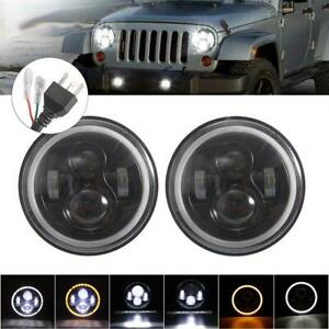 Pair 7'' Round LED Headlights Angle Eyes For Jeep Wrangler JK LJ TJ CJ