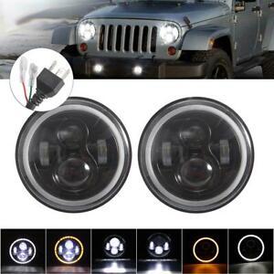 Pair 7'' Round LED Headlights Angle Eyes For Jeep Wrangler JK LJ TJ CJ