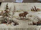 Vintage Tapestry Wall Hanging Elk Woods Pines Fringe 29x54 Cabin Decor (22)