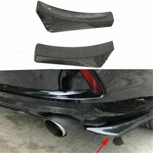 2PCS Black Car Rear Bumper Lip Diffuser Splitter Spoiler Carbon Fiber Protector