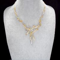 Gold Silber Glamour Mode Design Halskette Kette Collier versilbert neu