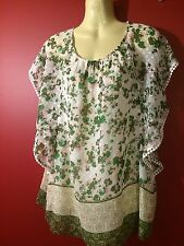 DANIEL RAINN Women's Green/White Floral Sheer Batwing Blouse - Size Medium - NWT