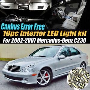 10Pc Error Free White Interior LED Light Kit for 2002-2007 Mercedes-Benz C230