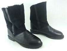 LA CANADIENNE black leather snow winter shearling pull on mid calf boots 7
