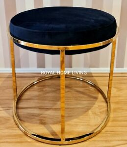 OTTOMAN STOOL FOOTSTOOL ROUND GOLD FRAME WITH BLACK UPHOLSTERED FABRIC