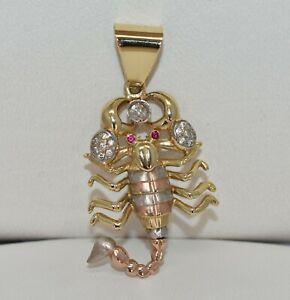 14 K Tri-Tone Gold .47 CT TW White Diamond & Ruby Scorpion Pendant 2 1/8 inch