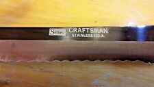 2 Sears CRAFTSMAN Kitchen KNIVES contour WOOD HANDLES Knife Set STAINLESS STEEL