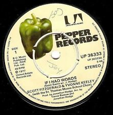"SCOTT FITZGERALD & YVONNE KEELEY If I Had Words 7"" Single Record Pepper 1977"
