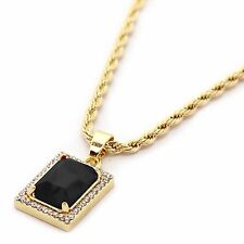 """14k Gold Plated Iced Out Mini Black Stone CZ Pendant w/ 3mm 24"""" Rope Chain"""