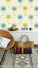 Teal, lime, Crema Y Plata, floral moderna, designer wallpaper por Holden Decor