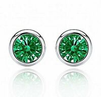 2 ct. Bezel Set Emerald Stud Earrings in Solid Sterling Silver ~ Gift Box