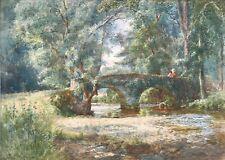 Fritz Althaus Original Watercolour Painting Packhorse Bridge Winsford, Exmoor