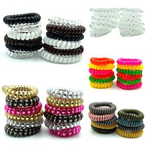 12 Hair Bobbles Spiral Telephone Hair Elastics Womens Girls Hair Accessories