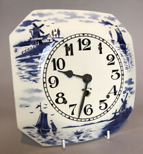 Vintage Ceramic 'Delft' Octagonal Wall Clock - No Key / Sold as Parts