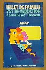 Original 1972 SNCF BILLET DE FAMILLE French Railroad Travel Poster by FORE