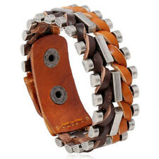 Punk Mens Wide Brown Leather Braided Bracelet Bangle Wristband Adjustable Cuff