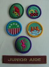 Vintage 80s LOT Girl Scout CARDINAL TROOP CREST SWIMMING DANCE JUNIOR AIDE Badge