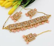 Bollywood Indian Gold Plated Jewelry CZ Kundan Choker Bridal Necklace Peach Set