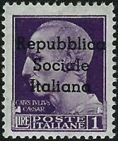 Teramo - 1944 - 1 Lira violetto - Sassone n.8 - nuovo (MNH) - Firmato Caffaz
