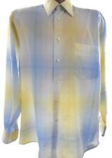 FORSYTH OF CANADA Medium Yellow/Blue Plaid Cotton Long Sleeve Button Front Shirt