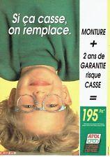 Publicité Advertising 087  1991  les lunettes pour enfants Optique Atol