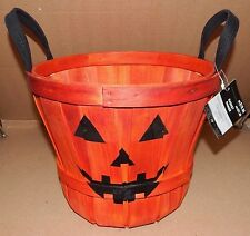 "Halloween Pumpkin Basket Wood 10 1/2"" Widex9 3/4"" Deep Handles Celebrate It 122V"