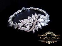 Armband Bracelet 18K weiss gold mit Swarovski AAA Kristallen 18 cm