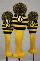 Black Yellow Rugby Style Golf Sock 1 3 X head cover Set headcovers headcover