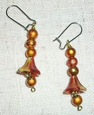 Iridescent Copper color beads and lily bud bead hand made pierced earrings #209