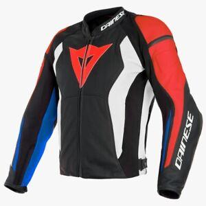 DAINESE NEXUS MENS LEATHER JACKET MOTORBIKE / MOTORCYCLE BLACK/RED/BLUE