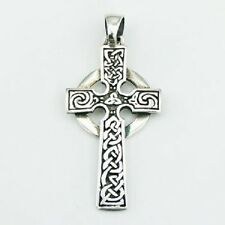 Silver pendant hand crafted 925 sterling silver Ornate Celtic cross 45mm height