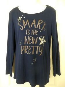 """Justice 20 Plus Navy Blue LS Top ' SMART IS THE New PRETTY """" Silver sequins"""